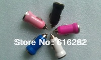Hot sale! White Black Pink Red Blue Orange Green colors USB Car Charger adapter for mobile phone 20 pieces/lot