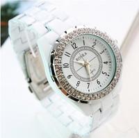 HOT Luxury Fashion Brand Rhinestone Watch White Gemstone stainless Steel Quartz Dress Watch For Women Free Shipping