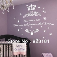 Free Shipping Once upon a Time Princess Wall Stickers Decal DIY Home Decoration Wall Mural Removable Bedroom Stickers (65x 40cm)