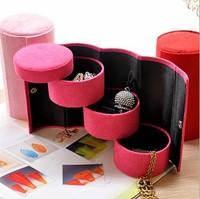 European Jewelry Box Quality Flannel Three-Tier Round Portable Multi-Function Jewelry Box Jewelry Storage Free Shipping