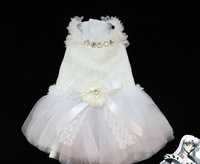 1 piece white lace Wedding dress for dog puppy cat puppy pet summer clothes
