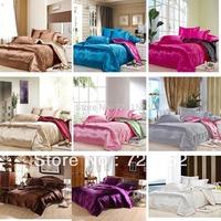 Free Shipping 3 size of 9 colors satin silk textile cotton quilt cotton marriage celebration bedding denim bedding deals  queen