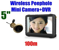 5.8G Wireless Door Peephole Camera with DVR(100m range;0.008lux;5-inch screen;800X600pix;motion detect recording) Free Shipping