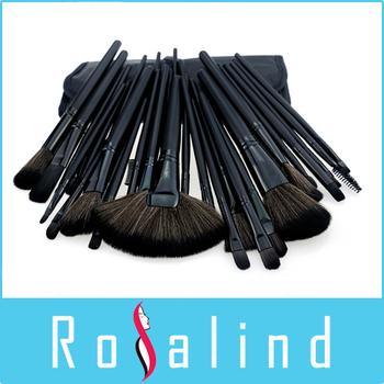 Rosalind  New 2015 Professional 32 pcs Professional Cosmetic mc Makeup Brushes Set + Pure Black Leather Bag Makeup Tools Beauty