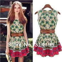Free\Drop Shipping new 2014 summer dress sleeveless (S,M,L ) floral print cotton dress with Free Belt high quality 9309