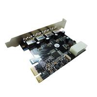 Free shipping PCI-E 4 Port USB 3.0 PCI-E PCI Card Adapter Converter for laptop/notebook