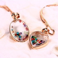 Wholesale Jewelry Fashion Crystal  Peach Heart Pendant  Fashion Drifting Bottle Wishing Bottle Necklace