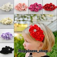 50set/lot infant baby girls Satin Chiffon flowers with Acryl diamond FOE headbands Hair Accessory Hair Band 10color