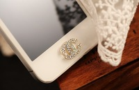 5pcs Bling Crystal Double Letter C Home Button Sticker Phone Decoration for iPhone 4 4S 5 5G iPad 2 3 4FREE SHIP