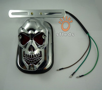 New Universal Motorcycle fashional LED SKULL HEAD lights REAR TAIL light Lights