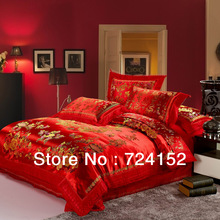 Red satin comforter set dragon  chinese wedding bedding set print Modern suits jacquard Bedclothes queen/king size(China (Mainland))