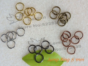 Jewelry Findings Accessories 8mm Jump ring 1000pc/lot gold/copper/silver/black gun/antique gold  Free nickel Free lead