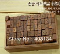 Freeship! 70pcs/set Number and Letter Wood stamp Set,Wooden Box/vintage Handwritten stamp,DIY funny work Cursive script