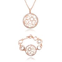 KS40 New 2013 Fashion 18K Rose Gold Plated Crystal Pave Hollow Round Circle Pendant Necklace Bracele t/ Bangle Women Jewelry Set