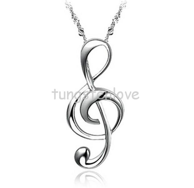 Fashion Silver Plated Treble G Clef Music Note Pendant Necklace Jewelry for Women, Teens - Nickel(China (Mainland))