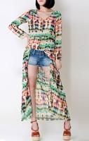 Multi-Color Dip Dye Shirred Waist Chiffon Long Cardigan Shirt Blouse Dress 13864