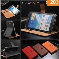 New Free shipping Black Genuine leather case for samsung Galaxy Note 2 ii N7100 with Stand Wallet Card Holder Flip Cover with