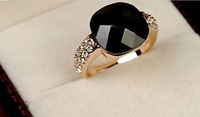 Min.order is $15 (mix order) Black agate crystal female retro ring jewelry black section gems