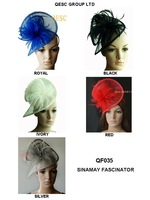 Sinamay Fascinator bridal Fascinator hat hair accessory with Feathers .can pick the color.yellow color is out of stock