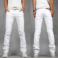 The new spring and summer 2014 men's large size men's white jeans Korean fashion casual men stretch skinny jeans 27-40