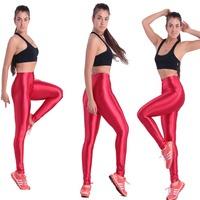 Yomsong Women High Waist Neon Color Pants Button Zipper Solid Candy Color Disco Spring Autumn