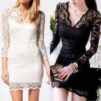 New Autumn Women Elegant Sexy V-neck low-cut Long Sleeve Evening Party Lace Mini Bag Hip Dress Black/White #005 SV001069