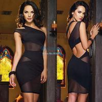New 2014 Sexy Nightclub Bandage Dress Mini One Shoulder Dress Summer Sexy Women's Evening Party Clubwear Dress SV000460