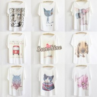 Promotion!!!2014 New Ladies' Cotton T-Shirt Fashion Colorful Short Sleeve Loose Casual T-Shirt Blouse SV001170 b007