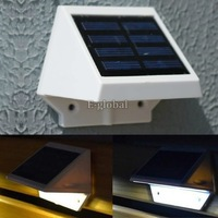 Hot Sale! Solar Power Panel 4 LED Fence Gutter Light Outdoor Garden Wall Lobby Pathway Lamp Cold/Warm White b4 CB022804