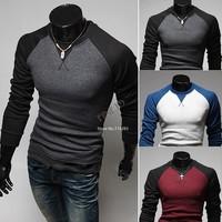 Top Quality! 2014 New Fashion Men Round Neck Long Sleeved Color Stitching T-shirt Slim Man T-shirt 3 Colors b4 SV004543