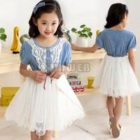 New 2014 Summer Girl Dress Brand Children Dresses Girl Dress Kids Clothing Lace Belt Denim Tulle Princess Dress 0-4Y B6 SV002420