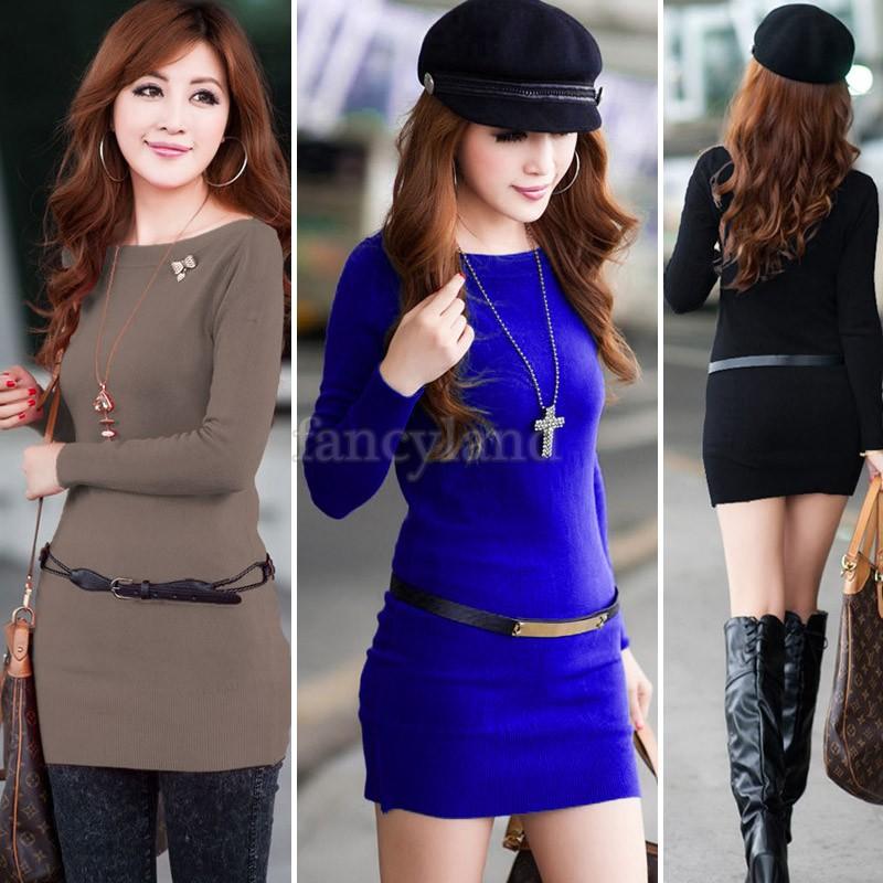 Promotions Sweaters 2014 Women Fashion Winter Dress Long Design Knitted Womens Long Sleeve Sweater Knitwear Dresses #3 SV006709(China (Mainland))