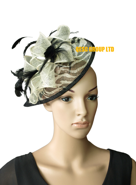 New Arrival coral orange.HOT sinamay fascinator/sinamay hat in SPECIAL shape w/feathers,8 colors,red,navy,purple,brown,wine,pink