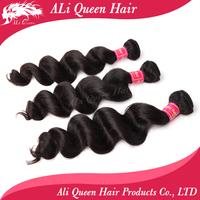 "ali queen brazilian loose wave virgin hair 3pcs lot free shipping length from 14"" to 26"" , unprocessed virgin brazilian hair"