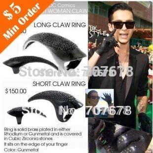 2014 New Fashion Hot Selling  Bird Claw Ring,Claw Retro Death Punk Ring  (Internal Diameter 11mm Black)  R295