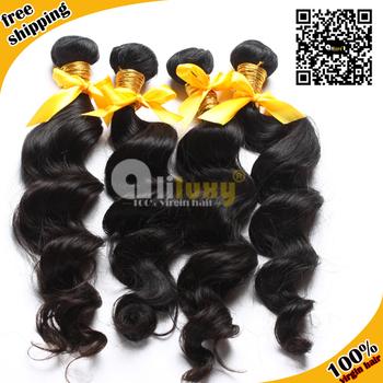"Unprocessed virgin hair free shipping, Peruvian virgin hair loose wave,7A Grade,human hair extension. 3pcs/lot ,color 1b#,8-30"""