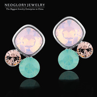 Neoglory Austria Crystal Rhinestone Charm Stud Earring for Women Platinum Plated Fashion Brand Jewelry Accessories 2014 New JS1