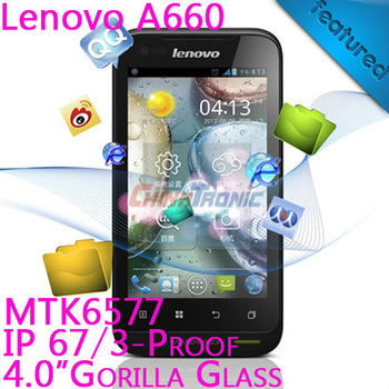 "Original Lenovo A660 3-proof Android4.0+MTK6577 Dual-core 4.0""WVGA IPS 512MB RAM+4GB ROM Freeshipping with Gift"