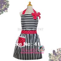 Stock Cotton Stripe Apron with Pink Polka Dot