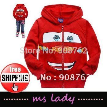 Free Shipping! Boy Cartoon Cars design coat Cotton terry sweatshirt hoodies Fashion Autumn wear Cool outerwear HK Airmail