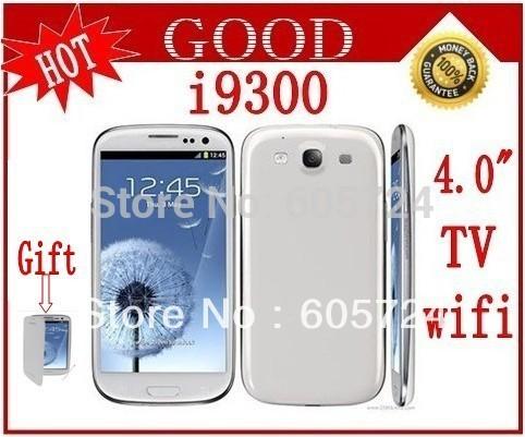 New i9300 9300 tv wifi mobile phone dual sim 4.0 inch touch screen Unlocked Mobile Phone with leather case Free shipping(China (Mainland))