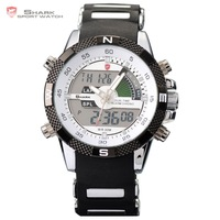 Digital SHARK Analog Dual Time Date Day Alarm Silicone Strap Outdoor White Quartz Wrap Wrist Military Men's Sports Watch / SH041