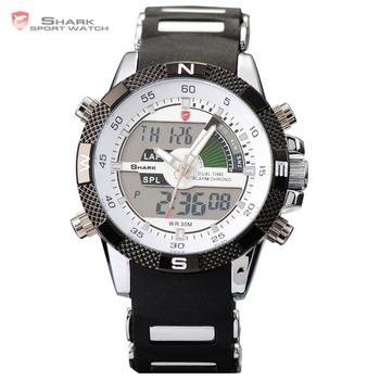Digital SHARK Analog Dual Time Date Day Alarm Silicone Strap Outdoor White Quartz Wrap Wrist Military Men's Sports Watch / SH041