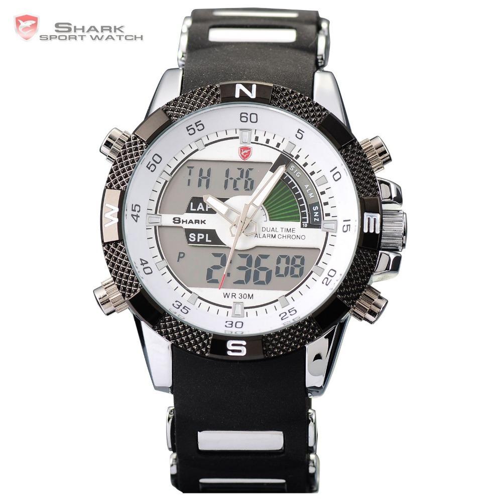 Digital SHARK Analog Dual Time Date Day Alarm Silicone Strap Outdoor White Quartz Wrap Wrist Military Men's Sports Watch / SH041(China (Mainland))