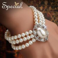 Special 2014 New Design Vintage Bracelets High Quality Ceramic Bead Strand Wedding Bracelet Free Shipping SL141111
