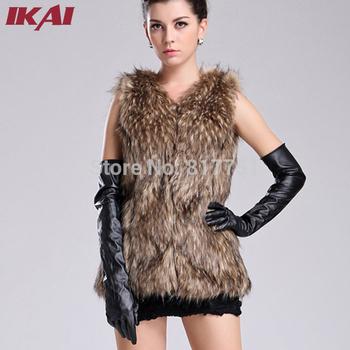 Women Faux Fur Vest Winter Long Vest Sleeveless Luxury Fur Coat Free Shipping Big Size Slim Fur Vest CAP057