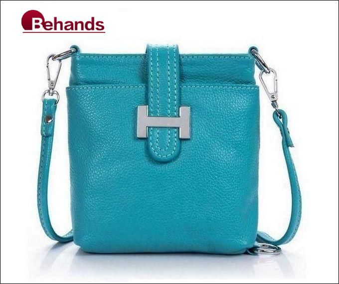 2014 Best Bags Genuine Leather Handbags Fashion Hasp Shoulder Bag 6 Colors Cross-body Purses BH135+Free Shipping(China (Mainland))