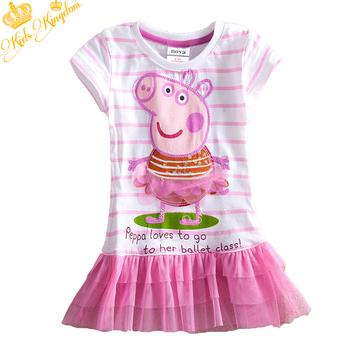 designer 2013 children kids girls tutu casual dress girls' dresses summer baby clothes babys peppa pig lace dress wm4581