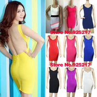 Backless knitted bodycon hl bandage dress celebrity dresses 2013 Wholesale Cheap Yellow White Red Black Pink Navy Blue Purple