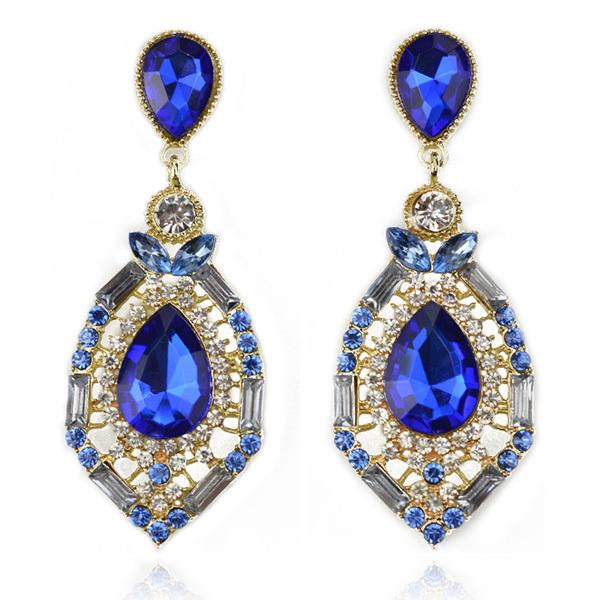 luxury elegant ocean blue rhinestone big fashion drop earrings 2014 Hot Sell Vintage Earings Accessories ER-016054(China (Mainland))